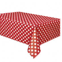 Red Dots Table Cloth - Plastic 9ft Tablecover 1pc